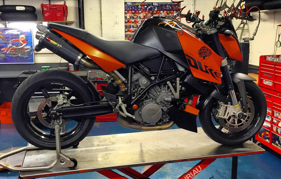 Motorbike on the ramp for an MOT inspection - Motorcycle MOT Doncaster